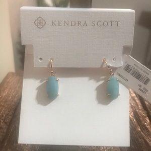 NWT Kendra Scott Lenny Gold Earrings in Amazonite!